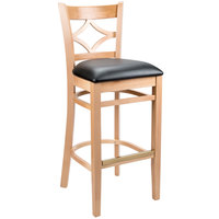 Lancaster Table & Seating Natural Diamond Back Bar Height Chair with 2 1/2 inch Padded Seat