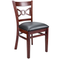 """Lancaster Table &amp&#x3b; Seating Mahogany Bow Tie Back Chair with 2 1/2"""" Padded Seat"""