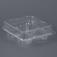 Par-Pak 02086 4 Compartment Clear OPS Hinged Cupcake / Muffin Container - 10 / Pack