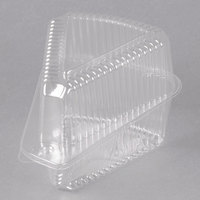 Polar Pak 503230 5 3/8 inch x 4 3/8 inch x 4 3/16 inch Clear PETE Wedge Single-Slice Pie / Cake Container with High Dome Lid - 20/Pack