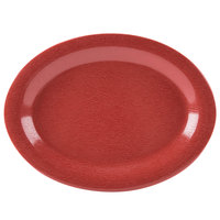 GET OP-120-EW-R Etchedware 12 inch x 9 inch Textured Red Oval Platter - 12/Case