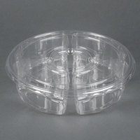 Par-Pak 5E068A-4+1P-C 10 inch Clear PET Round 5 Compartment Catering Tray with Lid - 5/Pack