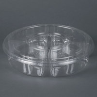 Par-Pak 5H138-4+1P-C 13 inch Clear PET Round 5 Compartment Catering Tray with Lid - 5/Pack