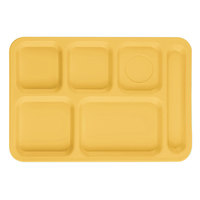 Cambro PS1014145 Penny-Saver 10 inch x 14 1/2 inch Yellow 6 Compartment Serving Tray - 24/Case
