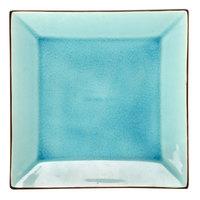 CAC 666-5-BLU Japanese Style 5 inch Square China Plate - Black Non-Glare Glaze / Lake Water Blue - 36/Case
