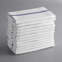 Choice 15 inch x 26 inch Blue-Striped 24 oz. 100% Cotton Herringbone Dish Towel - 12/Pack