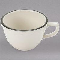 7 oz. Ivory Scalloped Edge China Mug with Black Band - 36/Case