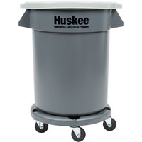 Continental 20 Gallon Gray Trash Can, Lid, and Dolly Kit