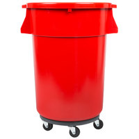 Continental 44 Gallon Red Trash Can, Lid, and Dolly Kit