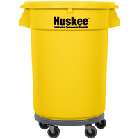 Continental 32 Gallon Yellow Trash Can, Lid, and Dolly Kit