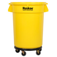 Continental 3200YW Huskee 32 Gallon Yellow Trash Can with, Yellow Lid, and Black Trash Can Dolly Kit