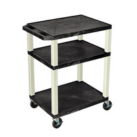 Luxor WT34E Black Tuffy AV Cart - 3 Shelf, 24 inch x 18 inch x 34 inch
