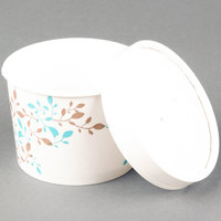 Huhtamaki Chinet 52218 Vine Print 12 oz. Double-Wall Poly Paper Soup / Hot Food Cup with Vented Paper Lid - 250/Case