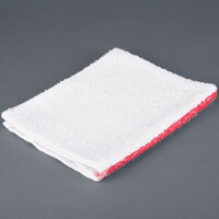 Choice 16 inch x 19 inch Red Striped 32 oz. 100% Cotton Bar Towel - 12 / Pack