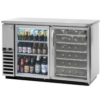 Beverage-Air DZ58G-1-S-PWD-LED 58 inch Dual-Zone Glass Door Stainless Steel Back Bar Refrigerator with Wine Bottle Drawers - 1 Straight Keg Capacity