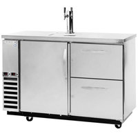 Beverage-Air DZD58-1-S-3 58 inch Dual-Zone Stainless Steel Beer Dispenser with Beer & Wine Keg Drawers and 2 Tap Tower - (4) 1/6 Keg Kegerator