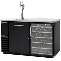 Beverage-Air DZ58G-1-B-PWD-1-LED 58 inch Dual-Zone Black Beer Dispenser with Solid Pull-Out Keg Drawer, Pull-Out Wine Drawers and 2 Tap Tower - (4) 1/6 Keg Kegerator
