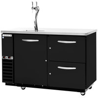 Beverage-Air DZ58G-1-B-PWD-1 58 inch Dual-Zone Black Beer Dispenser with Keg / Wine Bottle Drawers and 2 Tap Tower - (4) 1/6 Keg Kegerator