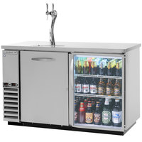 Beverage-Air DZ58G-1-S-1-LED Double Tap Dual Zone Kegerator Beer Dispenser, 1 Keg Drawer and 1 Glass Door - Stainless Steel, (4) 1/6 Keg Capacity
