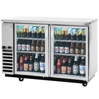 Beverage-Air DZ58G-1-S 58 inch Dual-Zone Glass Door Stainless Steel Back Bar Refrigerator - 2 Straight Keg Capacity