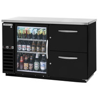 Beverage-Air DZD58G-1-B-2 58 inch Dual-Zone Glass Door Black Back Bar Refrigerator with Wine Keg Drawers - 1 Straight Keg Capacity