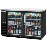 Beverage-Air DZ58G-1-B-LED 58 inch Dual-Zone Glass Door Black Back Bar Refrigerator - 2 Straight Keg Capacity
