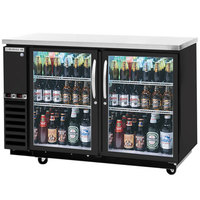 Beverage-Air DZ58G-1-B 58 inch Dual-Zone Glass Door Black Back Bar Refrigerator - 2 Straight Keg Capacity