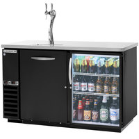 Beverage-Air DZ58G-1-B-1-LED 58 inch Dual-Zone Glass Door Black Beer Dispenser with Keg Drawer and 2 Tap Tower - (4) 1/6 Keg and 1 Straight Keg Kegerator