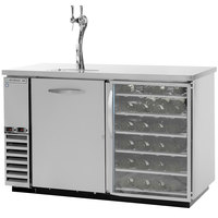 Beverage-Air DZ58G-1-S-PWD-1-LED 58 inch Dual-Zone Stainless Steel Beer Dispenser with Glass Door Keg Section, 2 Wine Bottle Drawers and 2 Tap Tower - (4) 1/6 Keg Kegerator