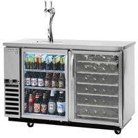 Beverage-Air DZ58G-1-S-PWD-1 58 inch Dual-Zone Stainless Steel Beer Dispenser with Glass Door Keg Section, 2 Wine Bottle Drawers and 2 Tap Tower - (4) 1/6 Keg Kegerator