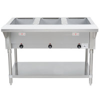 Advance Tabco HF-3E-120 Three Pan Electric Steam Table with Undershelf - Open Well, 120V