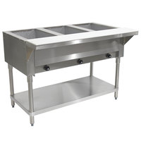 Advance Tabco HF-3G Liquid Propane Three Pan Powered Hot Food Table - Open Well