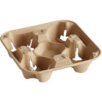 Biodegradable Pulp Fiber 4 Cup Carrier   - 300/Case