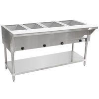 Advance Tabco HF-4G Four Pan Natural Gas Powered Hot Food Table - Open Well