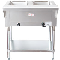 Advance Tabco SW-2E-240 Two Pan Electric Hot Food Table with Undershelf - Sealed Well, 208/240V
