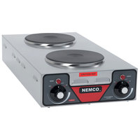 Nemco 6310-3 Electric Countertop Vertical Hot Plate with 2 Solid Burners - 240V