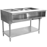 Advance Tabco WB-3G Liquid Propane Three Pan Wetbath Powered Hot Food Table with Undershelf - Sealed Well