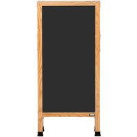 Aarco A-3B 42 inch x 18 inch Oak A-Frame Sign Board with Black Write On Chalk Board
