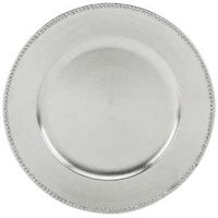 Tabletop Classics TRS-6629 13 inch Silver Round Polypropylene Charger Plate with Beaded Rim