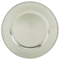 Tabletop Classics by Walco TRS-6629 13 inch Silver Round Polypropylene Charger Plate with Beaded Rim