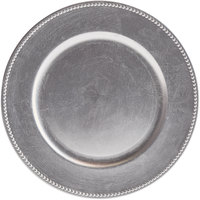 Tabletop Classics by Walco TRS-6629 13 inch Silver Round Plastic Charger Plate with Beaded Rim