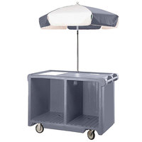 Cambro CVC55191 Camcruiser Granite Gray Customizable Vending Cart with Umbrella,1 Counter Well, and 2 Storage Compartments