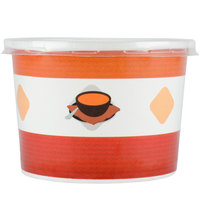Choice 12 oz. Double-Wall Poly Paper Soup / Hot Food Cup with Plastic Lid - 25/Pack