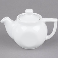 Tuxton BWT-18A 18 oz. White China Teapot With Lid - 12/Case