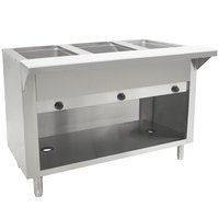 Advance Tabco HF-3G-BS Three Pan Gas Powered Hot Food Table with Enclosed Base - Open Well