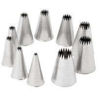 Ateco 870 10-Piece Stainless Steel French Star Piping Tip Decorating Set (August Thomsen)