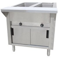 Advance Tabco SW-2E-120-DR Two Pan Electric Hot Food Table with Enclosed Base and Sliding Doors - Sealed Well, 120V