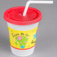 Solo CC12C-J5146 12-14 oz. Critter Print Plastic Kid's Cup with Lid and Straw - 250/Case
