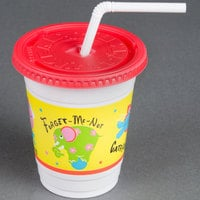 Dart Solo CC12C-J5146 Critter Print 12-14 oz. Plastic Kid's Cup with Lid and Straw   - 250/Case