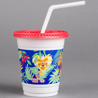 Solo CC12C-J5145 12-14 oz. Jungle Print Plastic Kid's Cup with Lid and Straw - 250/Case
